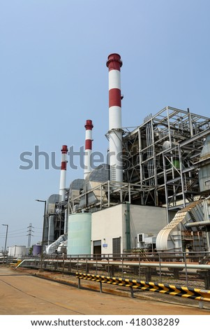SAMUT PRAKAN -THAILAND - APRIL 11 : Natural Gas Combined Cycle Power Plant on April 11, 2016 in Samut Prakan province, Thailand