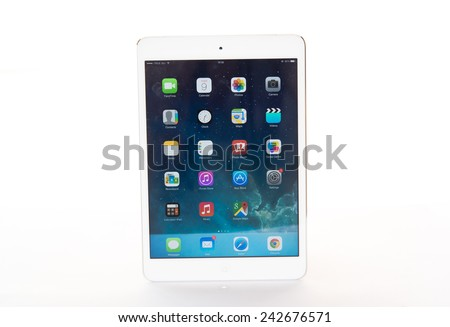 SAMUT PRAKAN, THAILAND - JANUARY 9, 2015,: Studio shot of brand new white Apple iPad Air, the most advanced digital tablet in part of the iPad line. Developed by Apple inc. - stock photo