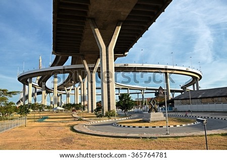 Samut Prakan, THAILAND - June 6:2015. The Bhumibol Bridge, also known as the Industrial Ring Road Bridge is  long Industrial Ring Road connecting southern Bangkok with Samut Prakan Province.