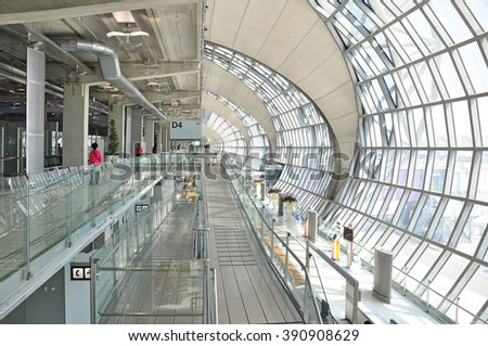 SAMUT PRAKAN, THAILAND - MAR 3, 2016 : Suvarnabhumi Airport is one of two international airports serving Bangkok, Thailand. The airport is located in Bang Phli, Samut Prakan about 25 km of Bangkok.