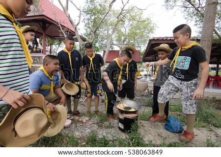 Samut Sakhon, THAILAND - Dec 7, 2016 : Student 11-12 years old, Cooking Scout activities in Scout Camp Samut Sakhon Thailand.