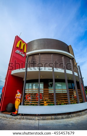 Samut Sakhon , Thailand - July 20, 2016 : McDonald's sign high in the air.McDonald's is the world's largest chain of hamburger fast food restaurants.
