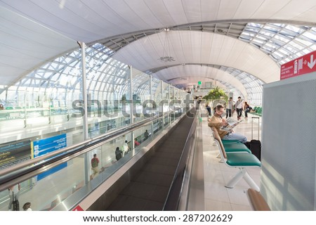 SAMUTPRAKARN, THAILAND - MAY 21: The main concourse of Suvarnabhumi Airport, designed by Helmut Jahn is the world's third largest single-building airport terminal on May 21, 2015 in Bangkok, Thailand. - stock photo