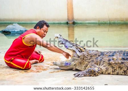 SAMUTPRAKARN,THAILAND - September 12: Crocodile show and man exciting and danger at crocodile zoo farm on September 12, 2015 in Samutprakarn,Thailand - stock photo