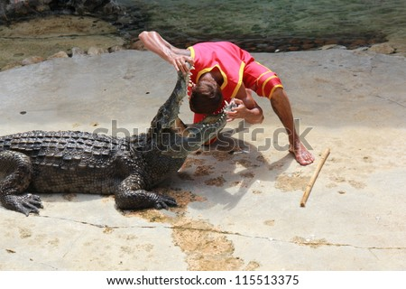 SAMUTPRAKARN,THAILAND -SEPTEMBER 6: crocodile show at  crocodile farm on September 6, 2011 in Samutprakarn,Thailand. This exciting show is very famous amoung among tourist and Thai people - stock photo