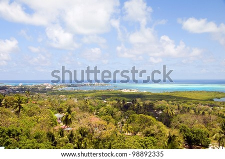 San Andres Island Colombia panorama view of Rocky Cay Manglares San Andres town and Caribbean Sea South America - stock photo