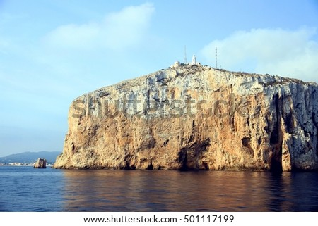 San Antonio Cape lighthouse and cliff in the province of Alicante in Spain