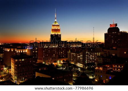 San Antonio downtown just after sunset showing skyline around the Tower Life Building - stock photo