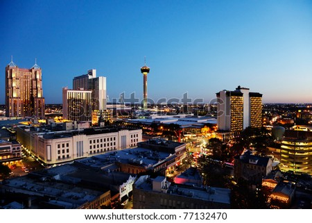 San Antonio downtown just after sunset showing skyline around Tower of the Americas & Alamodome - stock photo