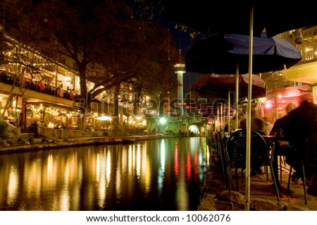 San Antonio riverwalk at night - stock photo