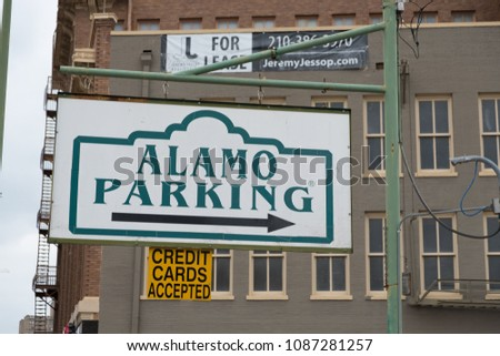 San Antonio, Texas - April 18, 2018: Alamo Parking sign at Alamo Plaza in San Antonio Texas.
