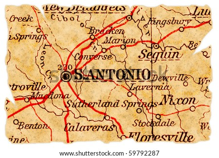 San Antonio, Texas on an old torn map from 1949, isolated. Part of the old map series.