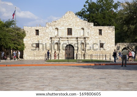 SAN ANTONIO, TEXAS - SEPTEMBER 15, 2011: Photo showing Alamo Mission, a formerRoman Catholicmission and fortress. It is the site of the Battle of Alamo (1836). It is an important touristic landmark. - stock photo
