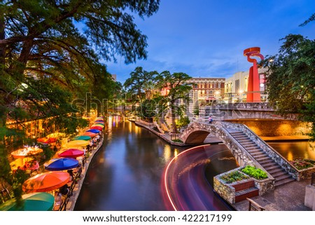 San Antonio, Texas, USA cityscape at the Riverwalk. - stock photo