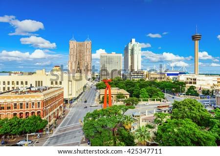 San Antonio, Texas, USA downtown skyline. - stock photo