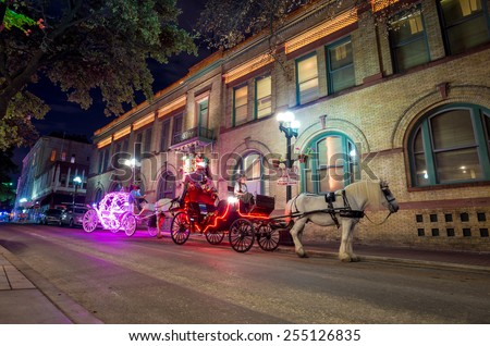 SAN ANTONIO, TEXAS, USA - SEP 27: Carriage in downtown of San Antonio, Texas on September 27, 2014 It was the fastest growing of the top 10 largest cities in the United States from 2000 to 2010 - stock photo