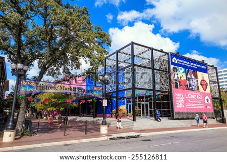 SAN ANTONIO, TEXAS, USA - SEP 29: Historic Market Square of San Antonio, Texas on September 29, 2014 The district is the largest Mexican shopping center in the city. - stock photo