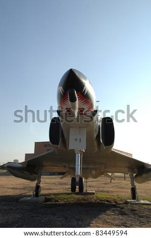 "SAN ANTONIO, TX - AUGUST 21: F-4 ""Phantom II"" fighter jet on static display at Lackland AFB on August 21, 2011 in San Antonio, Texas. - stock photo"