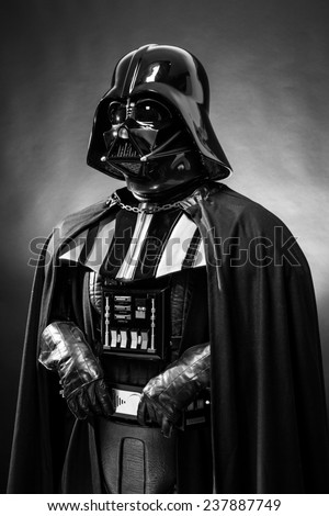 SAN BENEDETTO DEL TRONTO, ITALY. DECEMBER 5, 2014. Black and white portrait of  Darth Vader costume replica. Lord Fener is a fictional character of Star Wars saga.