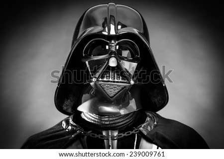 SAN BENEDETTO DEL TRONTO, ITALY. DECEMBER 5, 2014. Black and white portrait of the head of Darth Vader costume replica. Darth Vader or Dart Fener is a fictional character of Star Wars saga. - stock photo