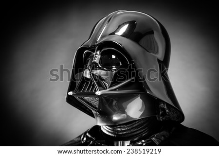 SAN BENEDETTO DEL TRONTO, ITALY. DECEMBER 5, 2014. Helmet of a replica of the costume of Darth Vader . Darth Vader or Dart Fener is a fictional character of Star Wars saga. Black and white picture - stock photo