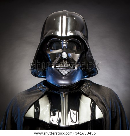 SAN BENEDETTO DEL TRONTO, ITALY. MAY 16, 2015. Portrait of Darth Vader costume replica . Lord Fener is a fictional character of Star Wars saga.  Blue grazing light . Square image - stock photo
