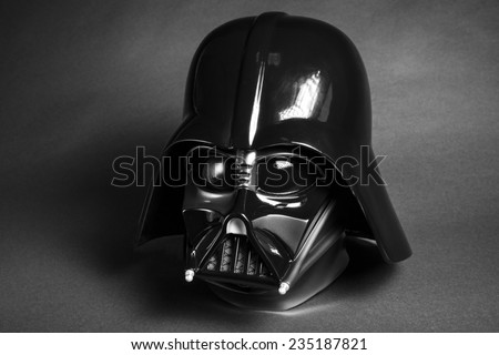 SAN BENEDETTO DEL TRONTO, ITALY. NOVEMBER 12, 2014. Photo of a replica of the helmet of Darth Vader costume. Darth Vader or Dart Fener is a fictional character of Star Wars saga. Black Background - stock photo