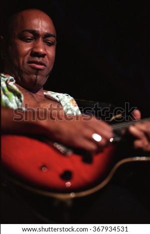 SAN BERNARDINOJULY 04:Guitarist Vic Johnson performs July 4, 1999 at the Blockbuster Pavilion in San Bernardino, CA. - stock photo