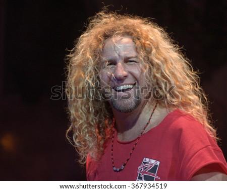 SAN BERNARDINOJULY 04:Vocalist/Guitarist Sammy Hagar performs July 4, 1999 at the Blockbuster Pavilion in San Bernardino, CA. - stock photo