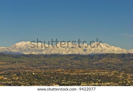San Bernardino Mountains with Snow during Winter - stock photo