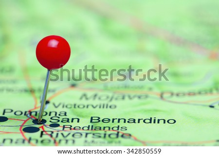 San Bernardino pinned on a map of USA  - stock photo