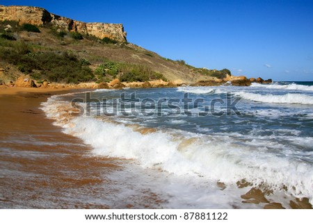 San Blas Beach, Gozo on Island of Malta - stock photo