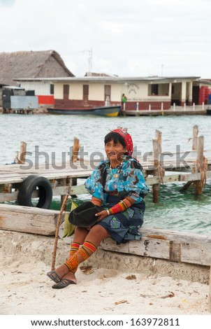 SAN BLAS ISLANDS, Panama - CIRCA JUNE 2006. Unknown native Kuna Indian woman dressed  in native ceremonial attire in the San Blas Islands, panama, CIRCA June 2006.