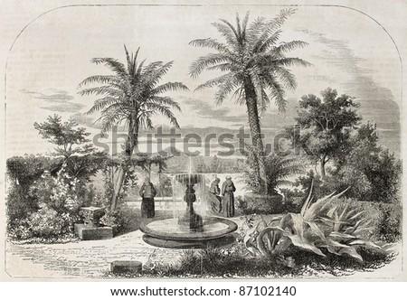San Bonaventura convent garden, old view, Rome. By unidentified author, published on L'Illustration, Journal Universel, Paris, 1860 - stock photo