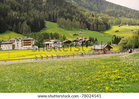 """SAN CANDIDO, ITALY - MAY 21: Giro D'Italia from Linz to Mont Zoncolan May 21, 2011 in San Candido, Italy. Various Cyclists during the 94th """"Giro D'Italia, Length of the course: 210 KM - stock photo"""