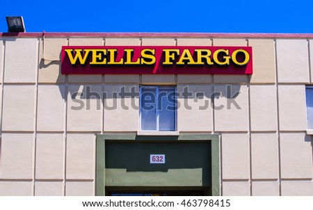 San Carlos, CA - Aug. 4, 2016: Wells Fargo is a provider of banking, mortgage, investing, credit card, insurance, and consumer and commercial financial services.