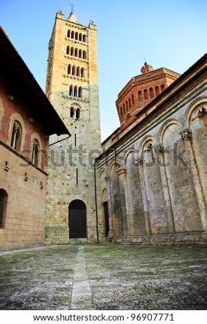 San Cerbone cathedral (also known as Duomo), historic centre of Massa Marittima. Tuscany, Italy. - stock photo