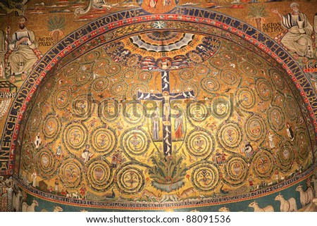 San Clemente church mosaic, Rome, Italy - stock photo