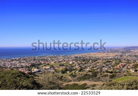 San Clemente Hills looking towards Dana Point with Catalina Island in the Background - stock photo