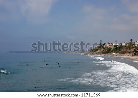 San Clemente looking North to Dana Point taken from the Pier - stock photo