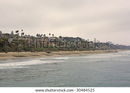 San Clemente looking South from the Pier on a Cloudy Day - stock photo