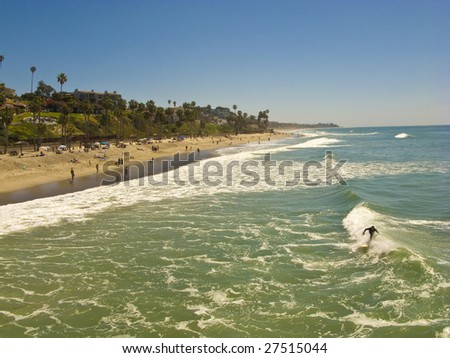 San Clemente looking South towards T Street taken from the Pier - stock photo