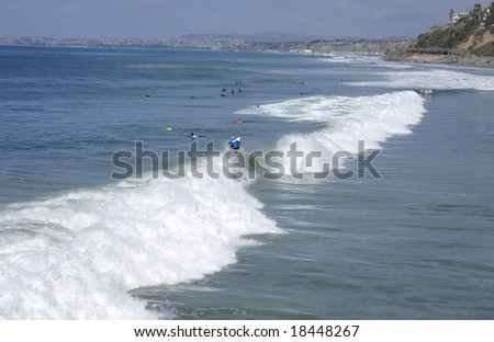 San Clemente looking towards Dana Point during a Surf Contest - stock photo