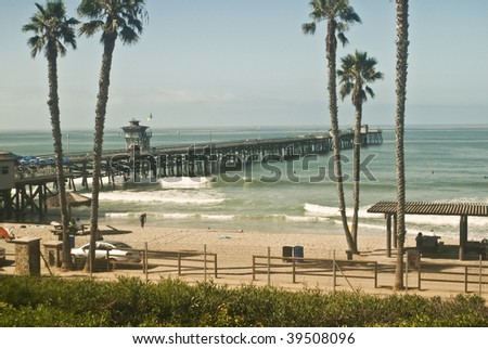 San Clemente Pier and Beach - stock photo