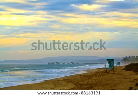 San Clemente Pier at First Light - stock photo