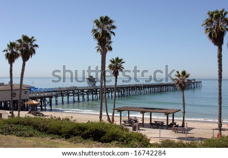 San Clemente Pier on a calm Summer Day - stock photo