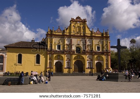 San Cristobal Cathedral in Chiapas, Mexico - stock photo