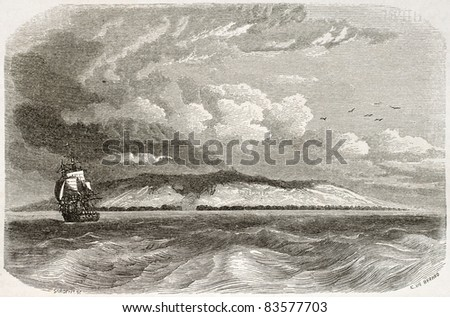 San Cristobal island old view, Galapagos. Created by De Berard after King, published on Le Tour du Monde, Paris, 1860 - stock photo