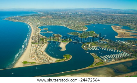 San Diego Aerial of Mission Bay and Pacific Beach - stock photo