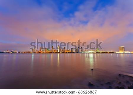 San Diego at night - stock photo